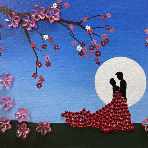 romantic couple, 16 x 12 inch, sangeeta bhargava,16x12inch,canvas,paintings,love paintings,paintings for dining room,paintings for living room,paintings for bedroom,paintings for hotel,acrylic color,GAL02824741105