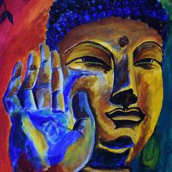 blessings of lord buddha, 15 x 25 inch, nayana b.c,15x25inch,canvas,paintings,buddha paintings,paintings for living room,paintings for office,paintings for hotel,paintings for school,paintings for hospital,acrylic color,GAL02908241109
