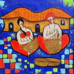 villager, 30 x 30 inch, chetan katigar,figurative paintings,paintings for bedroom,canvas,mixed media,30x30inch,GAL02664111