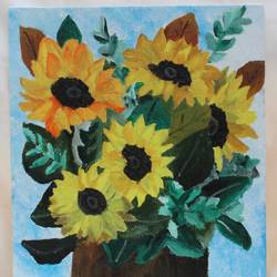 sunflowers, 10 x 12 inch, merlyn priyanka,10x12inch,canvas board,flower paintings,paintings for living room,paintings for bedroom,paintings for bathroom,paintings for hotel,paintings for living room,paintings for bedroom,paintings for bathroom,paintings for hotel,acrylic color,GAL02887841115