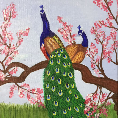 peacock spring season , 12 x 11 inch, kumar s,12x11inch,canvas,paintings,flower paintings,landscape paintings,portrait paintings,paintings for dining room,paintings for living room,paintings for office,paintings for kids room,paintings for hotel,paintings for kitchen,paintings for school,paintings for hospital,acrylic color,GAL02908341120