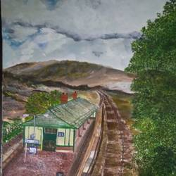railway station, 15 x 11 inch, roopkotha s,15x11inch,drawing paper,paintings,landscape paintings,nature paintings | scenery paintings,acrylic color,paper,GAL02786541122