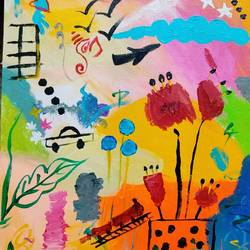 childhood fantasy, 12 x 16 inch, rupal chaturvedi,12x16inch,canvas,abstract paintings,abstract expressionism paintings,children paintings,kids paintings,paintings for kids room,paintings for kids room,acrylic color,GAL02907641130
