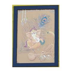 sri ganesh, 8 x 12 inch, nagaraju yachareni,8x12inch,cloth,ganesha paintings | lord ganesh paintings,acrylic color,fabric,glass,wood,GAL02909441144