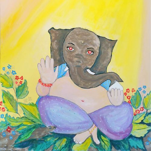 calming lord ganesh, 24 x 36 inch, ramya m,24x36inch,canvas board,paintings,abstract paintings,figurative paintings,religious paintings,nature paintings | scenery paintings,ganesha paintings | lord ganesh paintings,elephant paintings,paintings for dining room,paintings for living room,paintings for bedroom,paintings for office,paintings for kids room,paintings for hotel,paintings for hospital,acrylic color,GAL02879541145