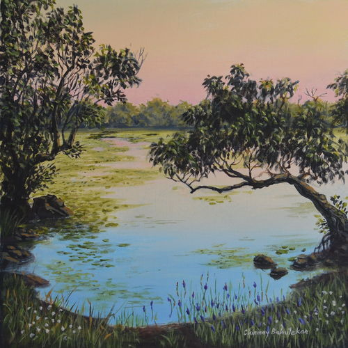 peaceful lake, 12 x 12 inch, chinmay bahulekar,12x12inch,canvas,paintings,landscape paintings,nature paintings | scenery paintings,photorealism paintings,realism paintings,surrealism paintings,paintings for dining room,paintings for living room,paintings for bedroom,paintings for office,paintings for bathroom,paintings for hotel,paintings for kitchen,paintings for school,paintings for hospital,acrylic color,GAL0720441147