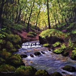 forest stream, 12 x 16 inch, chinmay bahulekar,12x16inch,canvas,paintings,landscape paintings,nature paintings | scenery paintings,photorealism paintings,photorealism,realism paintings,surrealism paintings,realistic paintings,paintings for dining room,paintings for living room,paintings for bedroom,paintings for office,paintings for bathroom,paintings for kids room,paintings for hotel,paintings for kitchen,paintings for school,paintings for hospital,acrylic color,GAL0720441148