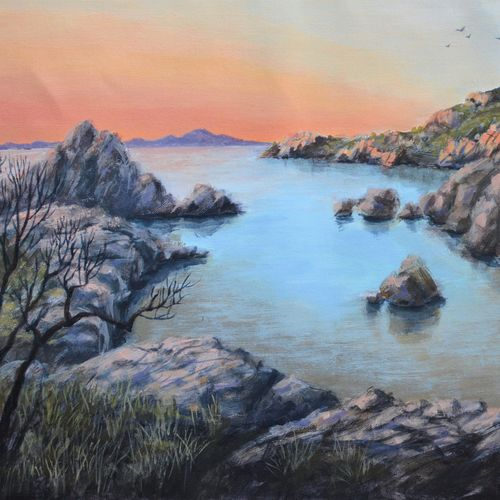 cove at dusk, 12 x 18 inch, chinmay bahulekar,12x18inch,canvas,paintings,landscape paintings,nature paintings | scenery paintings,photorealism paintings,photorealism,realism paintings,realistic paintings,paintings for dining room,paintings for living room,paintings for bedroom,paintings for office,paintings for bathroom,paintings for kids room,paintings for hotel,paintings for kitchen,paintings for school,paintings for hospital,acrylic color,GAL0720441149