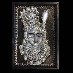 krishna-shrinathji, 8 x 12 inch, shital  pagey ,8x12inch,hardboard,paintings,religious paintings,paintings for living room,ceramic,GAL02908941155