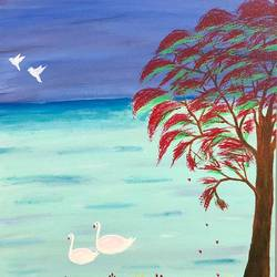 serene water swans, 12 x 16 inch, ruchi chandra verma,12x16inch,canvas,paintings,wildlife paintings,landscape paintings,paintings for living room,paintings for bedroom,paintings for kids room,acrylic color,GAL02794541157