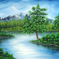 a greeny day (sa108), 30 x 20 inch, sijo joseph,cityscape paintings,paintings for living room,canvas,oil,30x20inch,GAL014234116