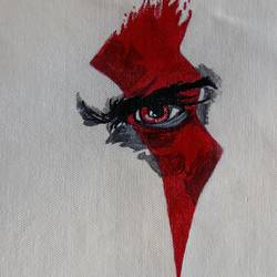 an eye in blood, 11 x 9 inch, popo singh,abstract paintings,paintings for dining room,canvas,watercolor,11x9inch,GAL013294118