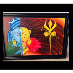 ardhanari nateshwar , 36 x 24 inch, shital  pagey ,36x24inch,canvas board,paintings,religious paintings,paintings for living room,paintings for hotel,acrylic color,GAL02908941183