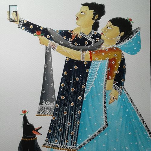 babu and bibi in selfie mood, 10 x 14 inch, bhaskar chitrakar,10x14inch,fabriano sheet,paintings,kalighat painting,watercolor,GAL02914041197