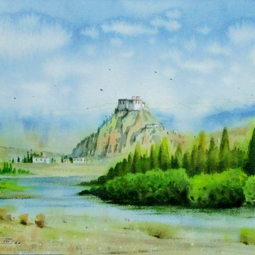 cover of green land , 11 x 16 inch, sumit nahar,landscape paintings,paintings for bedroom,renaissance watercolor paper,watercolor,11x16inch,GAL0190412