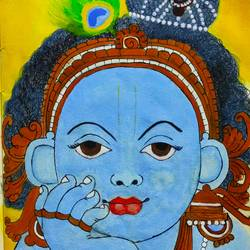 makhan chor, 8 x 8 inch, priya  verma,8x8inch,handmade paper,paintings,radha krishna paintings,paintings for living room,paintings for bedroom,paintings for living room,paintings for bedroom,poster color,GAL02889441203