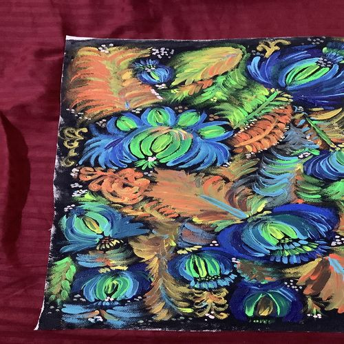 one stroke flowers, 11 x 16 inch, pooja sinha,11x16inch,canvas,flower paintings,paintings for living room,paintings for living room,acrylic color,GAL02917241215