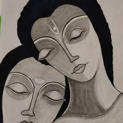 radha krishna, 8 x 11 inch, priya  verma,8x11inch,drawing paper,paintings,radha krishna paintings,paintings for dining room,paintings for living room,paintings for bedroom,paintings for office,charcoal,watercolor,graphite pencil,GAL02889441229