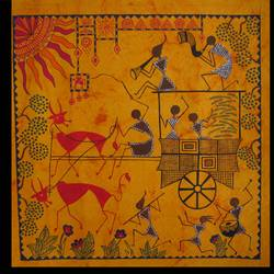 harvest warli painting, 17 x 17 inch, poonam virendra rajput,folk art paintings,paintings for living room,warli paintings,handmade paper,acrylic color,17x17inch,GAL014534123
