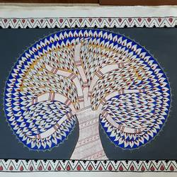 tree of life, 56 x 36 inch, lakshmi menon,56x36inch,canvas,paintings,folk art paintings,madhubani paintings | madhubani art,paintings for dining room,paintings for living room,paintings for office,paintings for hotel,paintings for school,paintings for hospital,acrylic color,ink color,GAL02888741230
