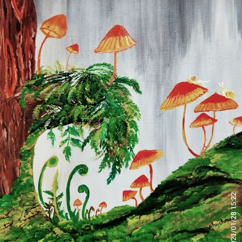 the mashrooms, 14 x 18 inch, shushma sarkar,14x18inch,canvas,paintings,landscape paintings,paintings for dining room,paintings for living room,paintings for bedroom,paintings for office,paintings for bathroom,paintings for kids room,paintings for hotel,paintings for kitchen,paintings for school,paintings for hospital,acrylic color,GAL02918141234