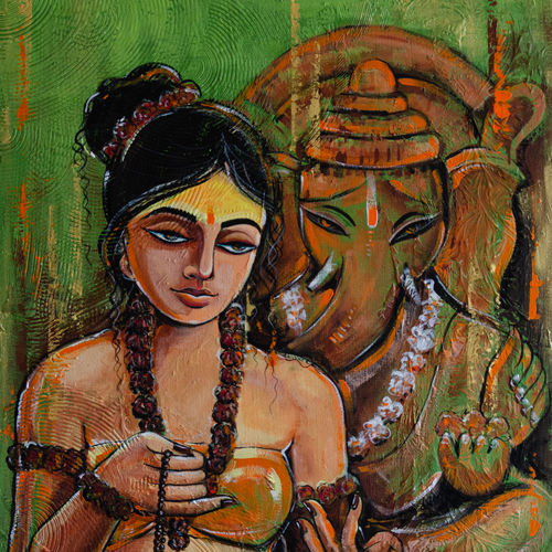 ganesha, 24 x 36 inch, ranju  kaushal,24x36inch,canvas,paintings,religious paintings,ganesha paintings | lord ganesh paintings,paintings for living room,paintings for hotel,paintings for living room,paintings for hotel,acrylic color,GAL02919141238