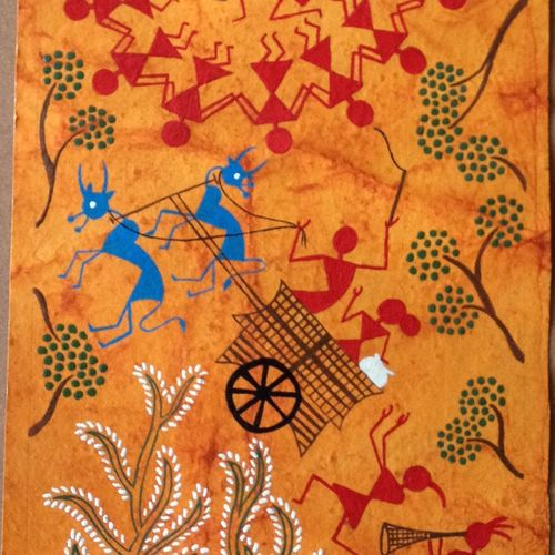 warli paintings 1, 7 x 22 inch, poonam virendra rajput,folk art paintings,paintings for living room,warli paintings,handmade paper,acrylic color,7x22inch,GAL014534124