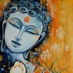 buddha, 24 x 36 inch, ranju  kaushal,24x36inch,canvas,paintings,buddha paintings,figurative paintings,religious paintings,paintings for living room,paintings for office,paintings for hotel,paintings for school,paintings for hospital,acrylic color,GAL02919141240