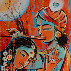 radha krishna, 24 x 36 inch, ranju  kaushal,24x36inch,canvas board,paintings,figurative paintings,folk art paintings,modern art paintings,religious paintings,radha krishna paintings,paintings for dining room,paintings for living room,paintings for office,paintings for hotel,acrylic color,GAL02919141243
