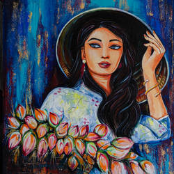 florist, 24 x 30 inch, ranju  kaushal,24x30inch,canvas board,paintings,figurative paintings,modern art paintings,art deco paintings,illustration paintings,paintings for dining room,paintings for living room,paintings for bedroom,paintings for office,paintings for hotel,acrylic color,GAL02919141245