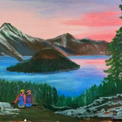 a serene valley view, 36 x 24 inch, kunwar sen handa,36x24inch,canvas,paintings,landscape paintings,acrylic color,GAL02800041248