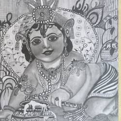 pencil sketch, 8 x 11 inch, anju verma,8x11inch,paper,drawings,radha krishna drawings,paper,GAL02860841251