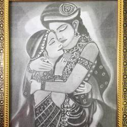 pencil sketch, 8 x 11 inch, anju verma,8x11inch,ivory sheet,drawings,radha krishna drawings,paper,GAL02860841252