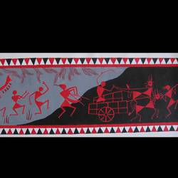 abstract warli painting, 23 x 8 inch, poonam virendra rajput,folk art paintings,paintings for living room,warli paintings,canvas,acrylic color,23x8inch,GAL014534126