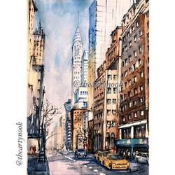 watercolor painting cityscape handmade gallery wall art, 17 x 12 inch, amrita patnaik,17x12inch,brustro watercolor paper,paintings,cityscape paintings,paintings for dining room,paintings for living room,paintings for bedroom,paintings for office,paintings for kids room,paintings for hotel,paintings for school,paintings for hospital,watercolor,GAL02920141266