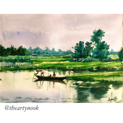 landscape painting original watercolor painting, 16 x 12 inch, amrita patnaik,16x12inch,brustro watercolor paper,paintings,landscape paintings,nature paintings | scenery paintings,realistic paintings,paintings for dining room,paintings for living room,paintings for bedroom,paintings for office,paintings for kids room,paintings for hotel,paintings for school,paintings for hospital,watercolor,GAL02920141267