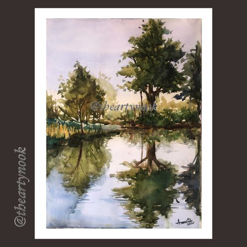 landscape water reflection scenery original watercolor painting, 16 x 12 inch, amrita patnaik,16x12inch,brustro watercolor paper,paintings,landscape paintings,nature paintings | scenery paintings,minimalist paintings,contemporary paintings,realistic paintings,paintings for dining room,paintings for living room,paintings for bedroom,paintings for office,paintings for kids room,paintings for hotel,paintings for school,paintings for hospital,watercolor,GAL02920141270