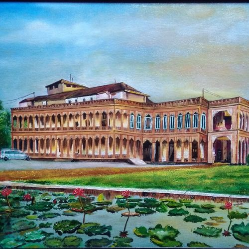 nilambag palace, 24 x 18 inch, mehul boricha,24x18inch,canvas board,paintings,cityscape paintings,photorealism paintings,paintings for dining room,paintings for living room,paintings for office,paintings for hospital,oil color,GAL02737741276