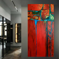 glorious red, 24 x 48 inch, nidhi gupta,24x48inch,canvas,paintings,abstract paintings,paintings for dining room,paintings for living room,paintings for bedroom,paintings for office,paintings for kids room,paintings for hotel,paintings for kitchen,acrylic color,GAL02487941279