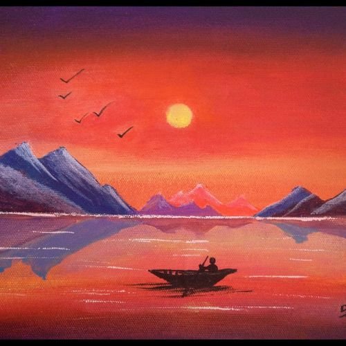 fire sky sunset , 10 x 8 inch, sai amale ,10x8inch,canvas,paintings,landscape paintings,nature paintings | scenery paintings,paintings for dining room,paintings for living room,paintings for bedroom,paintings for office,paintings for hotel,paintings for kitchen,acrylic color,GAL02904141287
