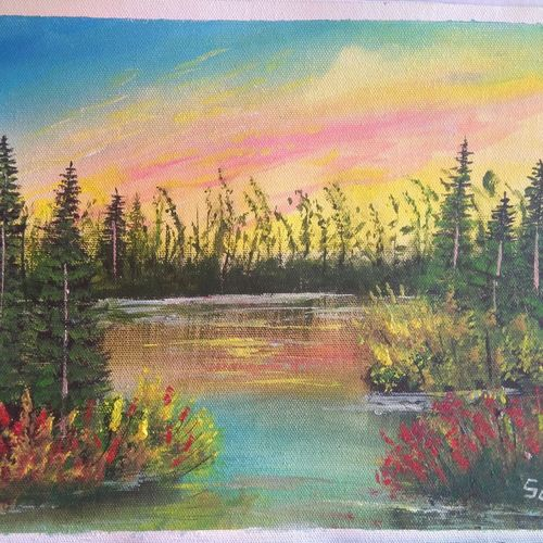 lake view, 12 x 10 inch, sai amale ,12x10inch,canvas,paintings,landscape paintings,nature paintings | scenery paintings,paintings for dining room,paintings for living room,paintings for bedroom,paintings for office,paintings for bathroom,paintings for hotel,paintings for kitchen,acrylic color,GAL02904141288