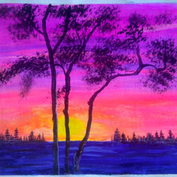 sunset scenery , 10 x 8 inch, sai amale ,10x8inch,canvas,paintings,landscape paintings,nature paintings | scenery paintings,acrylic color,GAL02904141289