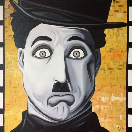 the charlie chaplin, 30 x 24 inch, amita dand,figurative paintings,paintings for living room,canvas,oil,30x24inch,GAL014674130