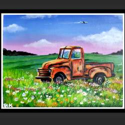 jalopy, 15 x 12 inch, smita kakati,15x12inch,canvas,paintings,nature paintings | scenery paintings,acrylic color,GAL02922441303