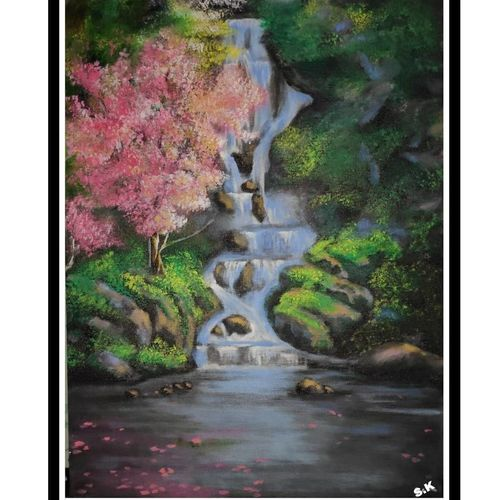 the act of gratification of nature, 12 x 16 inch, smita kakati,12x16inch,canvas,paintings,nature paintings | scenery paintings,acrylic color,GAL02922441304