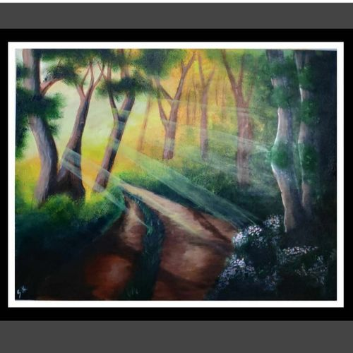 te dancing shadows, 15 x 12 inch, smita kakati,15x12inch,canvas,paintings,abstract paintings,wildlife paintings,still life paintings,nature paintings | scenery paintings,acrylic color,fabric,GAL02922441308