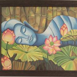 sleeping buddha, 28 x 21 inch, amita dand,buddha paintings,paintings for bedroom,canvas,oil,28x21inch,GAL014674131