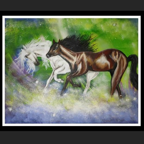 heavenly race, 15 x 12 inch, smita kakati,15x12inch,canvas,paintings,abstract paintings,wildlife paintings,modern art paintings,conceptual paintings,still life paintings,nature paintings   scenery paintings,acrylic color,fabric,GAL02922441310