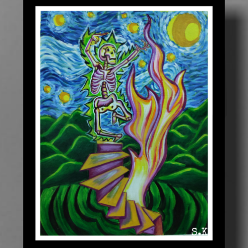 the story of life after death, 15 x 12 inch, smita kakati,15x12inch,canvas,paintings,abstract paintings,modern art paintings,conceptual paintings,pop art paintings,contemporary paintings,love paintings,acrylic color,fabric,GAL02922441312