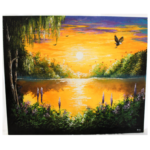 sunset glow, 24 x 20 inch, shriya mehta,24x20inch,canvas,paintings,landscape paintings,paintings for dining room,paintings for living room,paintings for bedroom,paintings for kids room,paintings for hotel,paintings for school,acrylic color,GAL02919241321